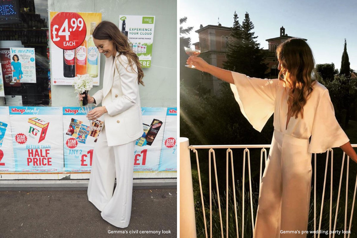 Bride Gemma Bonner in Bella Freud suit and custom Nikeen P jumpsuit by White Dossier