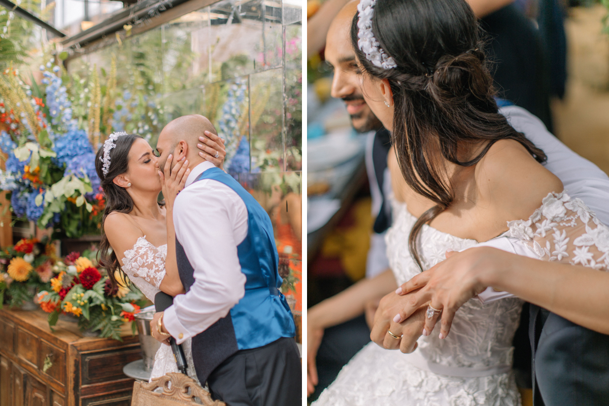 Bride Gabriella Nassif in custom Emma Victoria Payne at Petersham Nurseries in Richmond by White Dossier