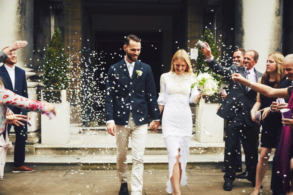White Dossier Real Bride Jess Hawkins wears Alessandra Rich at her London wedding