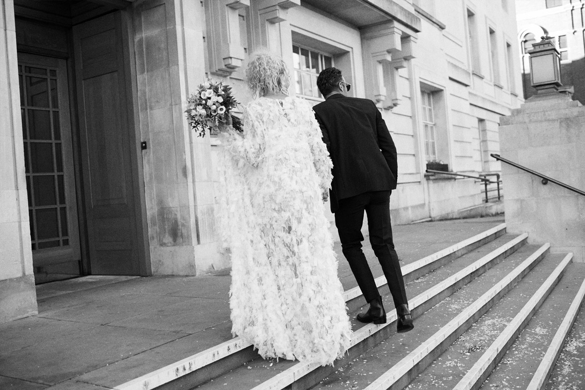 Real Bride Ashlee Ashlee Barett-Bourmier wears Ryan Lo to her London civil wedding